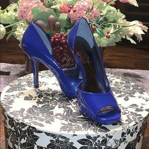 Jessica Simpson Blue Patent Leather Heels